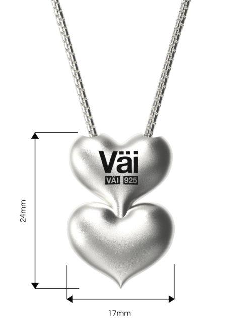 Väi Är heart pendant with snake chain by Väisänen Design, back