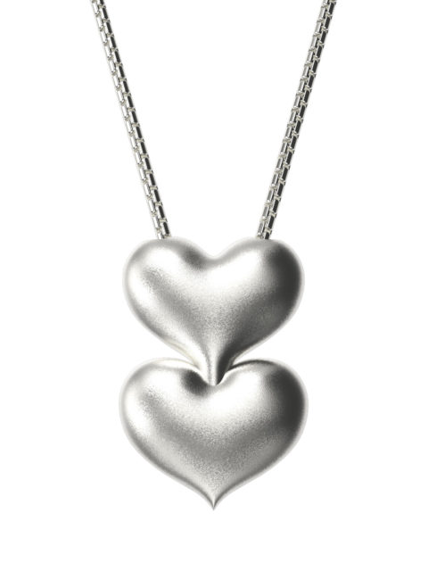 Väi Är heart pendant with snake chain by Väisänen Design, front