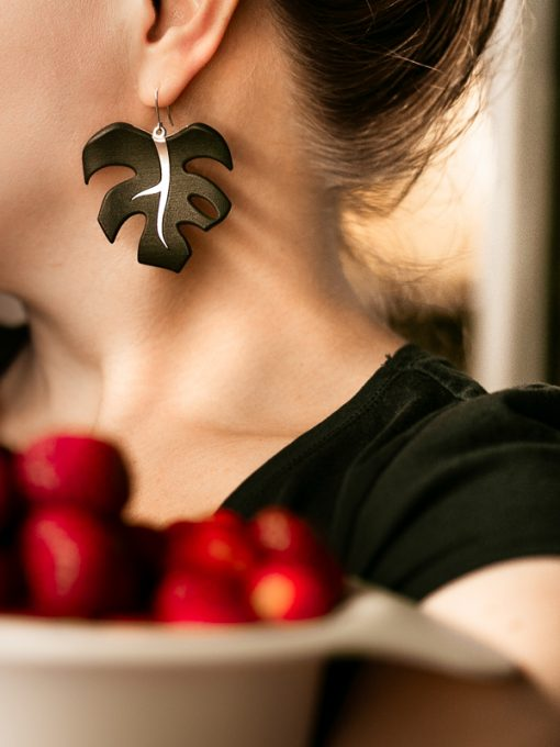 Väi Lehti earrings by Väisänen Design, with strawberries